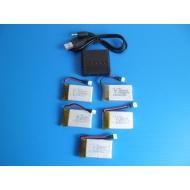 Lot de 5 batteries Lipo neuve 3.7 V 650 mah + chargeur